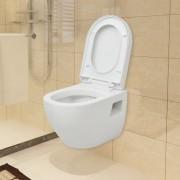 vidaXL Toaletă suspendată din ceramică albă