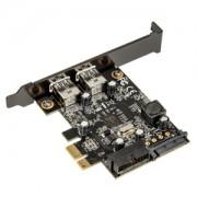 Adaptor Silverstone EC04-E Low Profile PCIe x1 (gen 2.0) - 4x USB 3.0 (2x externe / 2x interne), conector intern 19-pini, alimentare SATA