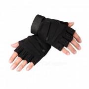 Ctsmart Outdoor Tractical Half-Finger Bike Riding Sun-resistant Gloves - Black (L)