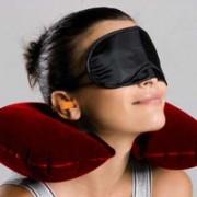 Sphiron Travel Freak Smart Travel Essentials Neck Pillow & Eye Shade(Red, Black)