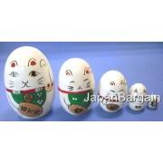 JapanBargain Educational Products - White Maneki Neko Matryoshka Nesting Doll #MD1/W - Set of 5 Nest