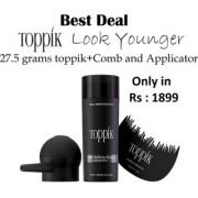 Toppikk Hair Building Fibres 27.5 g Black with Hairline Optimiser Comb Spray Applicator