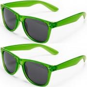 Merkloos 2x Groene retro model zonnebril voor volwassenen