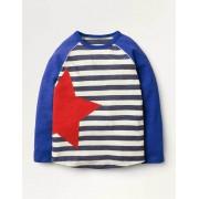 Mini Segelblau/Naturweiß, Stern Sportliches Raglan-Shirt Jungen Boden, 122, Navy