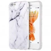 Coque De Protection En Tpu Caoutchouc Pour Apple Iphone 6 Plus/6s Plus, Imprimé Marbre Blanc/Noir