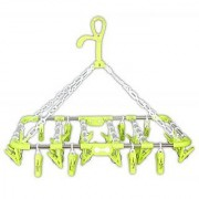 Evershine Plastic Foldable Portable Hanging Dryer Clothes Drying Hanger Rack with 30 Clips