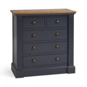 Oak Furnitureland Rustic Solid Oak and Painted Chest of Drawers - Chest of Drawers - Highgate Range - Oak Furnitureland