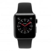 Apple Watch Series 3 - caja de acero inoxidable en negro 42mm - correa deportiva negra (GPS+Cellular) refurbished