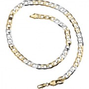 Silver Shine Ethnic Gold Plated Stainless Steel Curb Chain Jewellry Of 18 Inch Neckless For Men/Boys