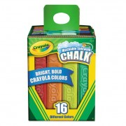 Washable Sidewalk Chalk, 16 Assorted Colors, 16 Sticks/set