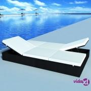 vidaXL Dupla ležaljka za sunčanje s jastukom poliratan crna