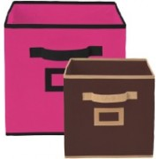 Billion Designer Non Woven 2 Pieces Small & Large Foldable Storage Organiser Cubes/Boxes (Pink & Coffee) - CTKTC35327 CTLTC035327(Pink & Coffee)