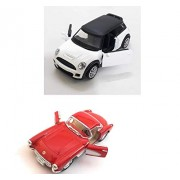 Combo of Mini Cooper and Ford Thunderbird Die-Cast Metal Car Toy with Openable Doors and Pull Back Action   White and Red Color
