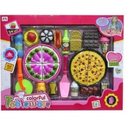 Emob Yummy Pizza Cooking and Cutting Tableware Toy Set with Multicolor Accessories For Kids