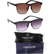 Fashno Combo of Unisex Brown and Black Frame Brown and Grey Lens wayfarer U.V Protected Sunglasses(FCMSGN16)
