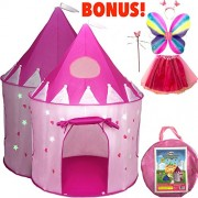 Pink Princess Castle Play Tents for Girls w/ Sunroof - Unique Pop Up Children Play Tent for Indoor & Outdoor Use - Beautiful Fairy Princess Castle Tent w/ Carrying Case