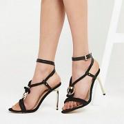 River Island Womens Black rope ring stiletto heel sandals (8)