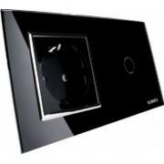 Intrerupator simplu cu touch+ priza simpla Livolo rama din sticla Negru
