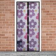 Mágneses szúnyogháló függöny ajtóra - színes virágos
