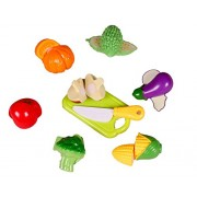 SUPER TOY Fruit & Vegetable Cooking Play House Set Toy with Cutting Board, Kitchen Toy, Knife & Fruits for Kids, Multi Color