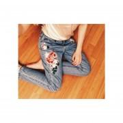 Pantalón Jeans Mujer Bordado Estilo Floral
