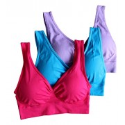 Cabales Women's 3-Pack Seamless Wireless Sports Bra with Removable Pads, Red/Blue/Purple, XXX-Large