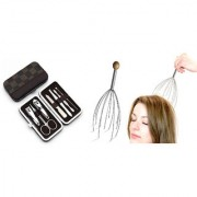 Combo of Premium Quality Manicure 7 Pcs. Set and Hand Held Head Massager ( Assorted Colors )