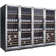 Vitrina de vinuri Nevada Concept NW580Q-S, 580 sticle, 4 zone, negru/inox