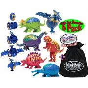 Hog Wild Transforming Dinosaur (Dino) Puzzled Egg Figures Tyrannosaurus (T-Rex), Triceratops, Pterodactyl, Brontosaurus, Scelidosaurus & Stegosaurus Bundle with Storage Bag - 6 Pack