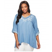 Karen Kane Plus Size Roll-Tab Handkerchief Top Light Blue
