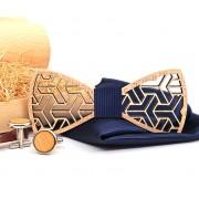 Dřevěný motýlek s kapesníčkem a manžetovými knoflíčky Gaira 709204