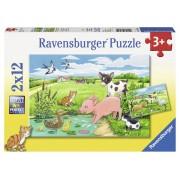 Puzzle animale la ferma, 2x12 piese