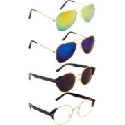 NuVew Aviator, Round Sunglasses(Blue, Clear, Blue, Golden, Violet)