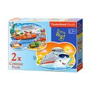 Puzzle 2 in 1 - Aventuri pe mare, 24 piese