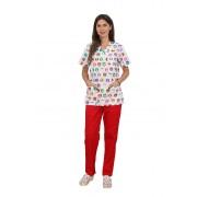 Costum medical Kitty, bluza cu imprimeu si pantaloni rosii cu elastic