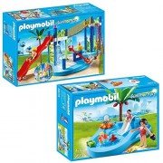 Playmobil Water Park Play Area Playset Bundled with Baby Pool with Slide Playset by PLAYMOBIL