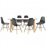 [en.casa]® Set de comedor de mesa blanca con 6 sillas grises - mesa de cocina 180x80 - bambú