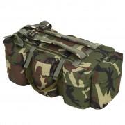 vidaXL 3-в-1 Сак, войнишки стил, 120 л, камуфлажен