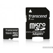 Micro SD Card, 16GB, Transcend MICRO, Class10, 1xAdapter (TS16GUSDHC10)