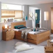 Home24 Deels massief bed Valerie III, home24 - Bruin