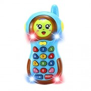 3D Music Mobile Phone Changing Face Cell Phone Cartoon Music Phone Learning Educational Toys for Baby Toddler (Blue)