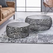 LUMZ Zandgegoten salontafelset van zwart aluminium