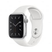 Apple Watch 5, GPS, Carcasa Silver Aluminium 40mm, White Sport Band