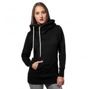 kapucnis pulóver női - Long Logopatch - URBAN CLASSICS - TB1328-black
