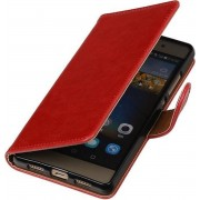 Rood Pull-Up PU booktype wallet cover hoesje voor Huawei P9 Lite
