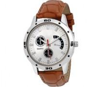 Round Dial Blue Leather Strap Quartz Watch For Men