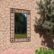 vidaXL Градинско стенно огледало, правоъгълно, 50x80 см, черно