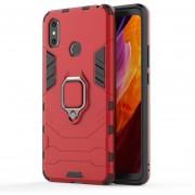 PC + TPU Resistente Estuche Protector Con Anillo Magnético Titular De Xiaomi Mi - Max 3 (rojo)