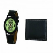 Crude Analog Watch-rg675 With Black Leather Wallet