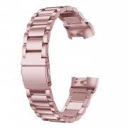 Stainless Steel Three Beads Watch Wrist Band Strap for Fitbit Charge 4 / 3 - Rose Gold